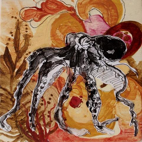octopus, painting, jamie bilgo, wood, sea life, oil, acrylic, animal, creature, collage, xerox