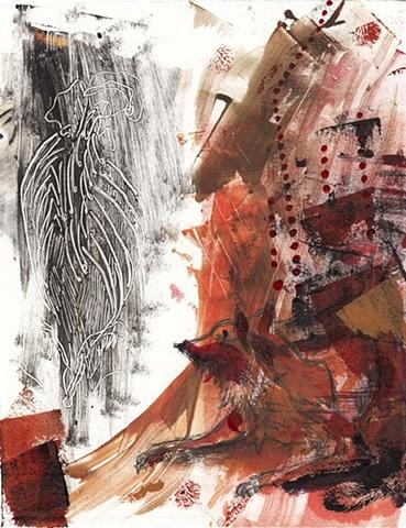 Wolf Ribs - Jamie Bilgo - Monotype with Mixed Media - Printmaking, wolf, animals, ribs, anatomy
