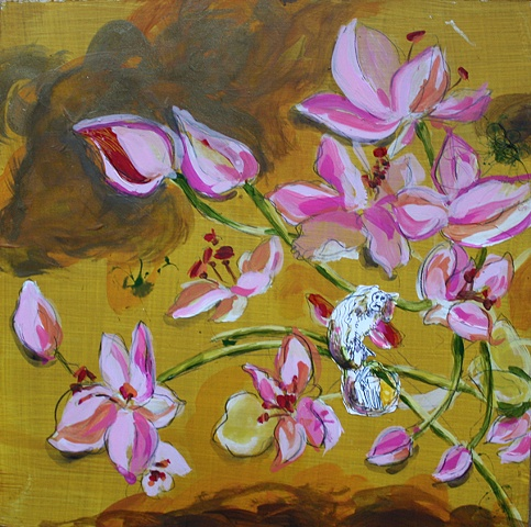 painting, mixed media, monkey, cherry blossom, pink, flower, jamie bilgo, milwaukee, animals, animal art, MARN, milwaukee artist resource network, afforadable, botanical