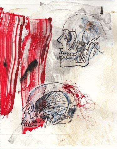 Temporal - Jamie Bilgo - Monotype with Mixed Media Skulls
