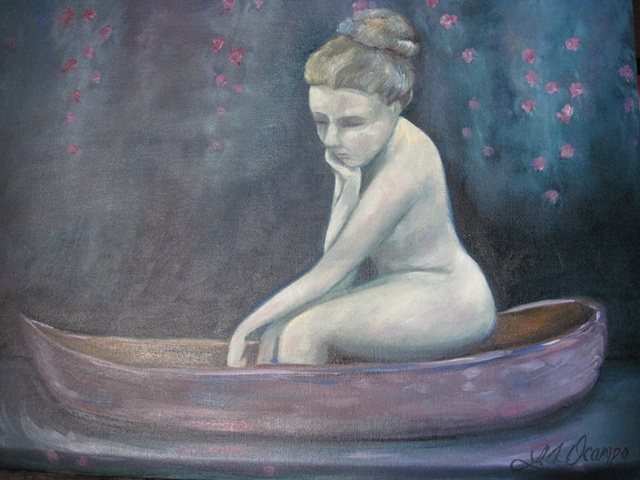 LADY ON BOAT ON RIVER NUDE WOMAN