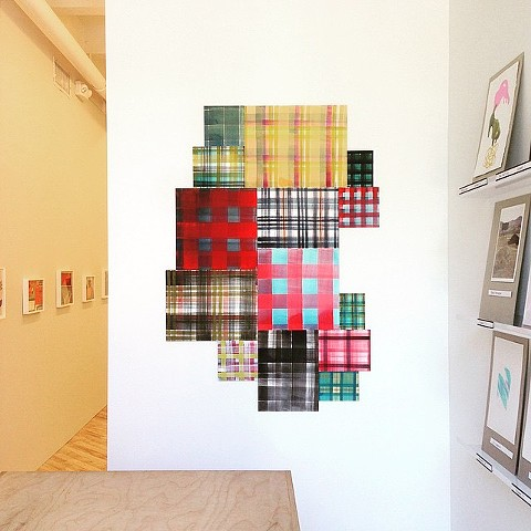 Plaid paintings installed in The Boston Drawing Project at Carroll and Sons Gallery, Boston, MA