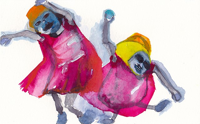 "Muffin Dancers, 2014 gouache and watercolor on paper 5"" x 8"""