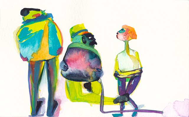 "It's Mine, 2014 gouache and watercolor on paper 5"" x 8"""
