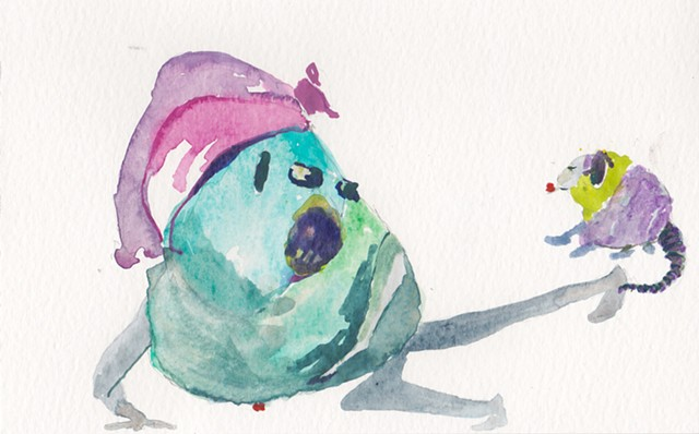 "Possum Kicker, 2014 gouache and watercolor on paper 5"" x 8"""