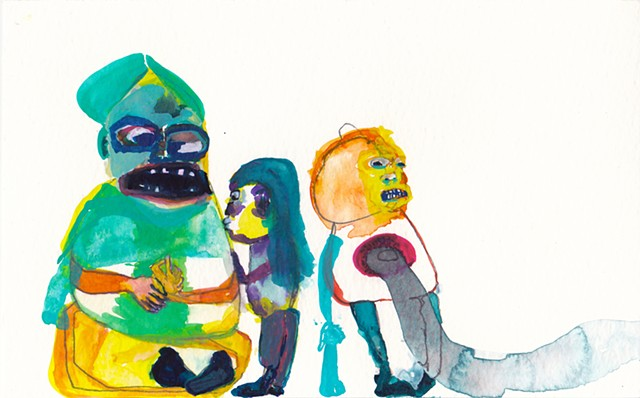 "Kissing The Monster: 1, 2014 gouache and watercolor on paper 5"" x 8"""