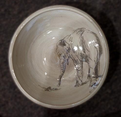 Bowl with Elephant and Monkey
