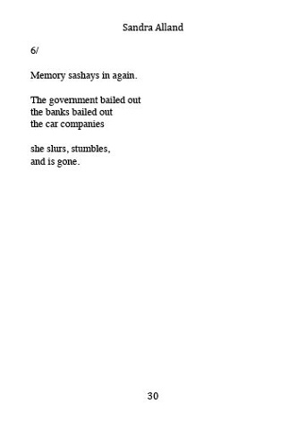 "a poetic excerpt from ""Slump""  by Sandra Alland"