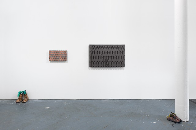 installation view, Meena Hasan and Cal Siegel: wallflower frieze, 6BASE, Bronx, NY, 2017