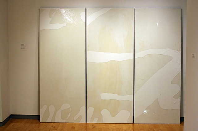 Monochrome Triptych installed, leaning against the wall.