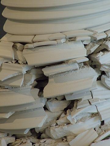 100 handmade porcelain plates, stacked (detail)