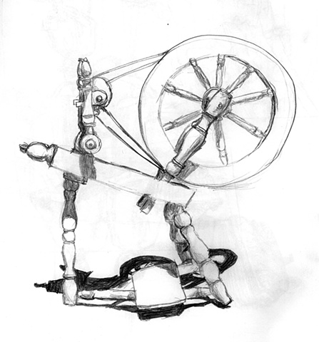 spinning wheel sketch