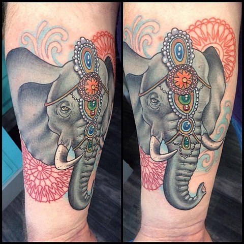 Elephant and mandalas