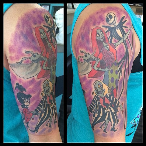 Tim Burton themed half sleeve