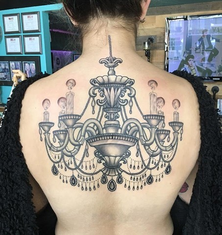 Chandelier. Some fresh/some healed in this picture.