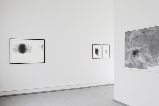 Exhibition view with work by Hedwig Brouckaert 'Magazine Figure – Vogue, Sept.'07' and Nelleke Beltjens.