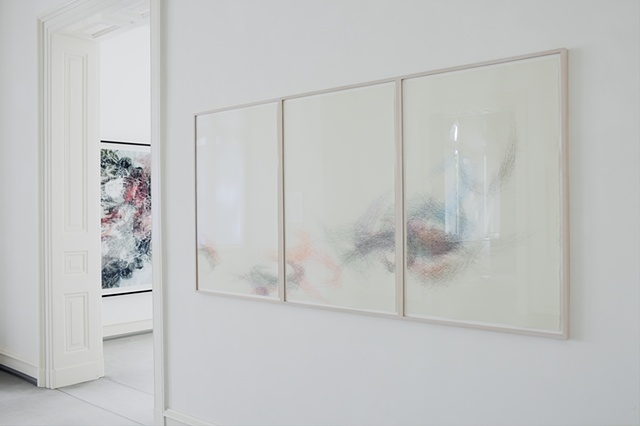 Exhibition view with work by Nelleke Beltjens and Hedwig Brouckaert.
