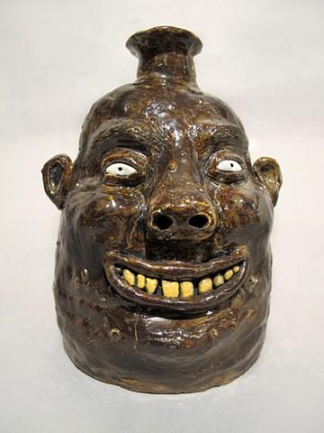 Dark Brown Face Jug