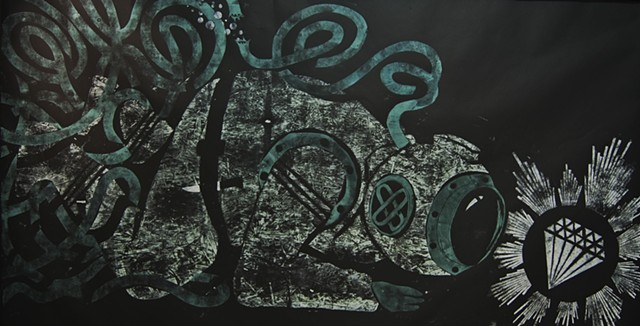 "Large wood cut, 48"" x 96"" , deep sea diver, jetsam, tom keating, artist , art, brooklyn portland, wayfarers"