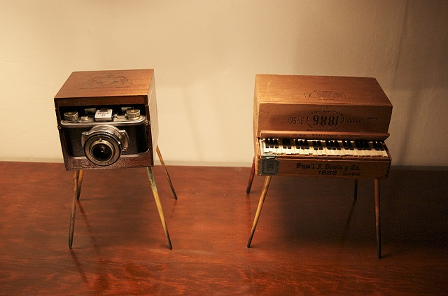 Piano/Camera Monster Sculpture front