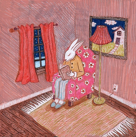 Rabbit reading in his house.