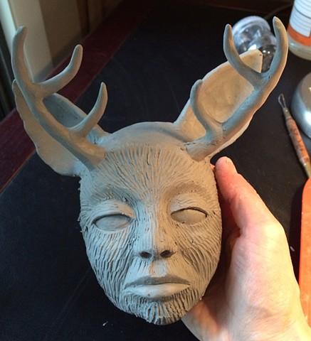 Clay wall piece in progress.