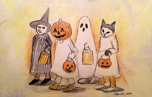 Trick or treat drawing.