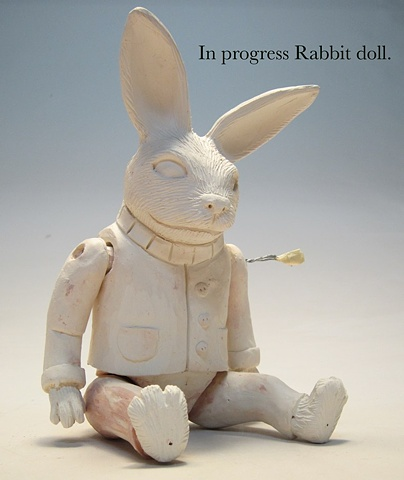Rabbit doll sculpture in progress.