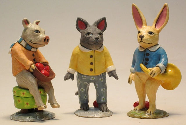 Clay animals.