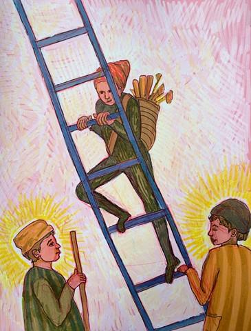 Blue ladder.