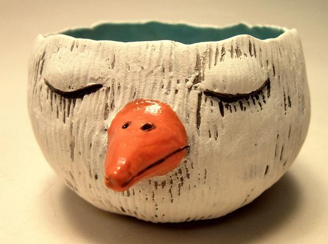 Bird pinch pot (top/interior view).