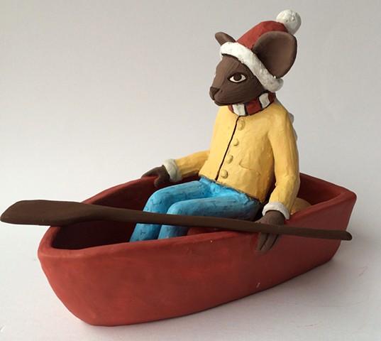 Cat sailing away.