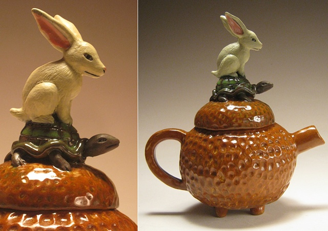 Tortoise and the Hare.   (nonfunctional teapot)