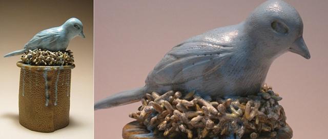 Bluebird vessel with eggs inside.