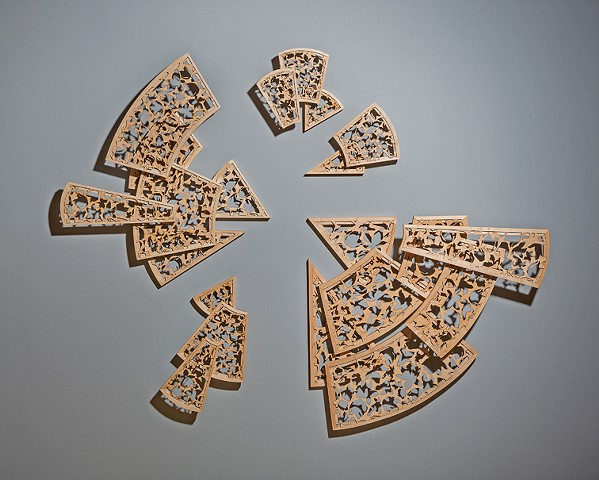 sculpture, laser-cut, veneer, plywood, frame and panel