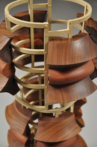Untitled #1: Neckpiece in Wood and Brass-Detail of Interior