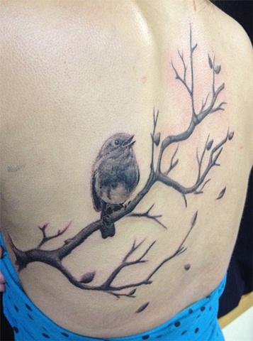 robin/branch tattoo