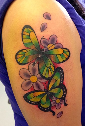 BUTTERFLY/FLOWERS TATTOO