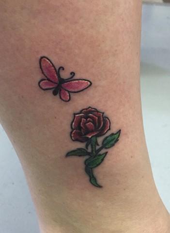 Little butterfly & rose