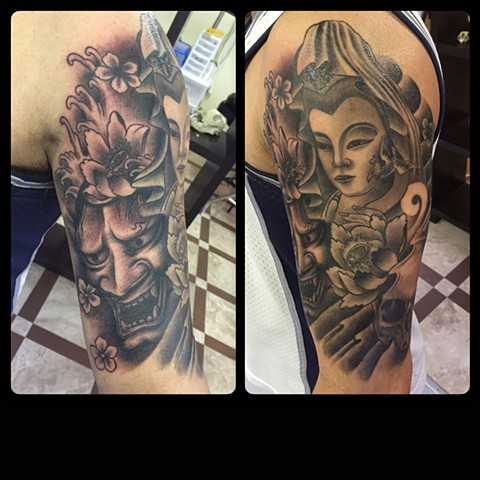 ASIAN THEMED HALF SLEEVE