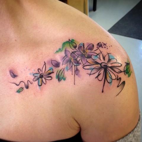 Watercolour Daisies & Violets