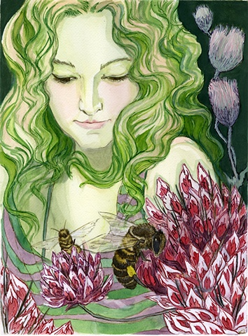 Flora and Fauna Zine-Honey Bee/Big-Headed Clover