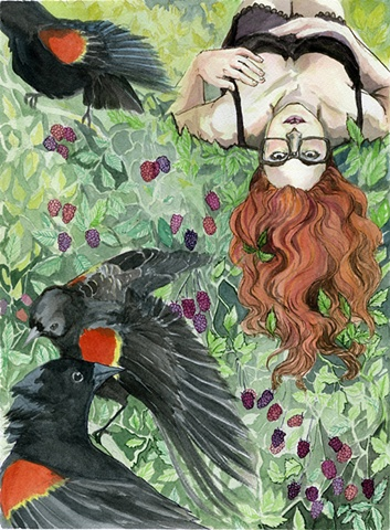 Flora and Fauna Zine-Red Winged Blackbird/Trailing Blackberries