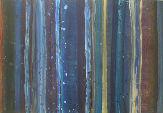 Blue abstract striped painting