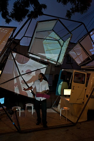 Myron Michael performing in the The Mobile Arts Platform installation