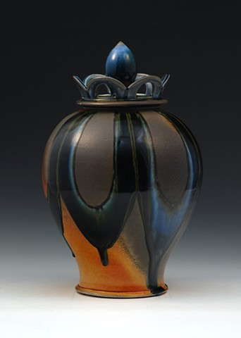 Soda Fired lidded jar with crown and finial top