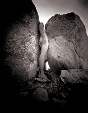"Self Portrait, City of Rocks, New Mexico 1988 pinhole photograph archival pigment print 20""x13"""