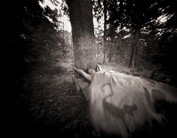 "Self with Tree, Brushy Hill, Lexington, Virginia 1988 pinhole photograph archival pigment print 13""x20"""