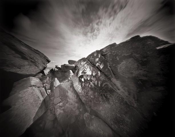 "Hands, Three Rivers Petroglyph Park, New Mexico 1988 pinhole photograph archival pigment print 13""x20"""