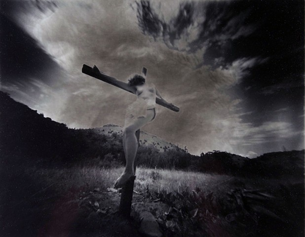 "Crucified Woman 2 1990-2004 pinhole photograph archival pigment print 13""x20"""
